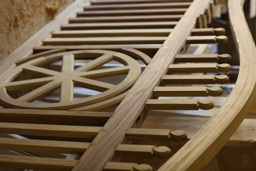 Gates made by local craftsman from our sawn Iroko