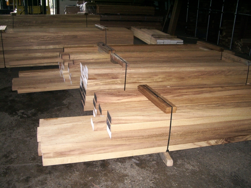Iroko 67mm thick decking for Camden market