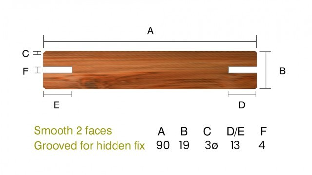 IPE 19 x 90mm Smooth 2 faces - Grooved for hidden fix - 1st Grade