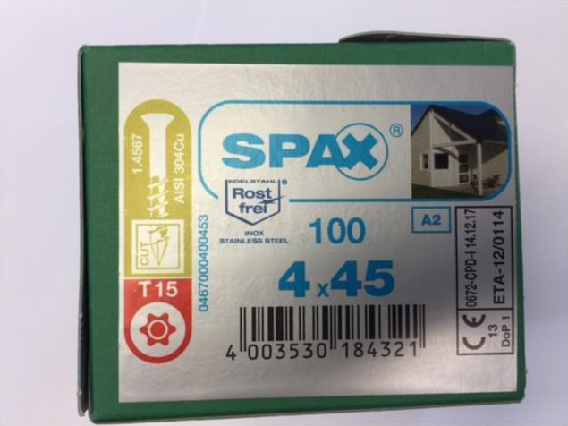 Spax Stainless 4.0 x 45mm x 100 box facade screw
