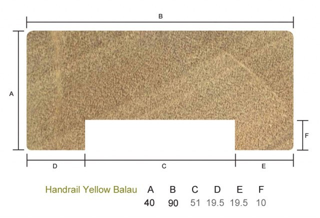 Yellow Balau 40 x 90mm Handrail