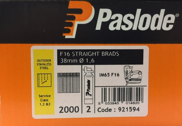 Paslode Stainless Steel 38mm x 1.6mm Brad Straight
