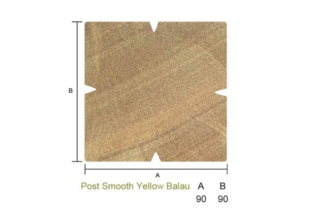 Yellow Balau 90 x 90mm Smooth Post
