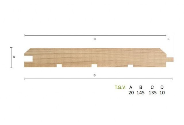Siberian Larch 20 x 144mm T.G.V. Cladding ST1.L