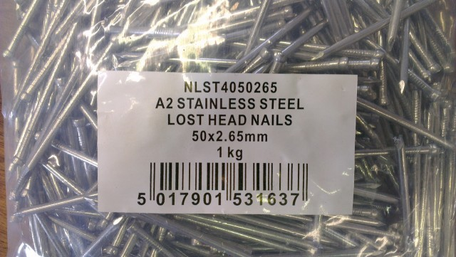 Stainless Steel 50mm x 2.65mm Lost Head 1kg
