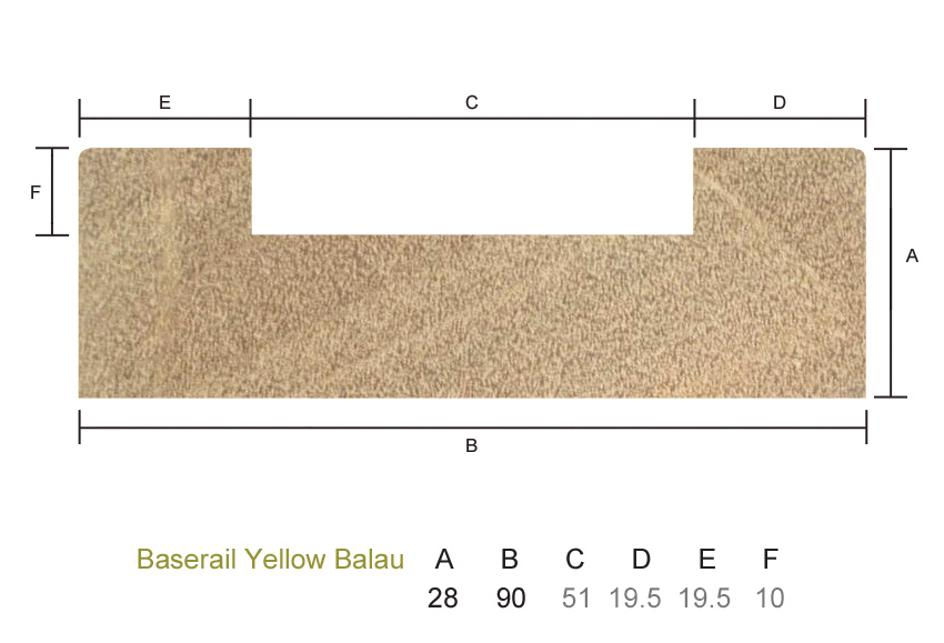 Yellow Balau Base Rail