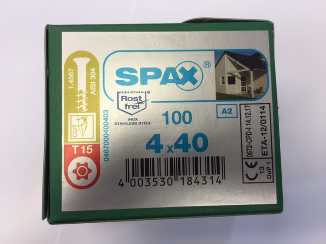 Spax Stainless 4.0 x 40mm x 100 box facade screw