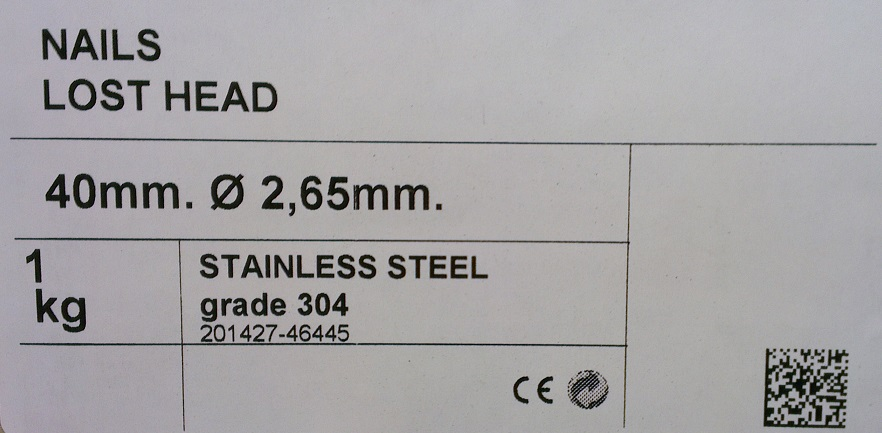 Stainless Steel 40mm x 2.65mm Lost Head 1kg