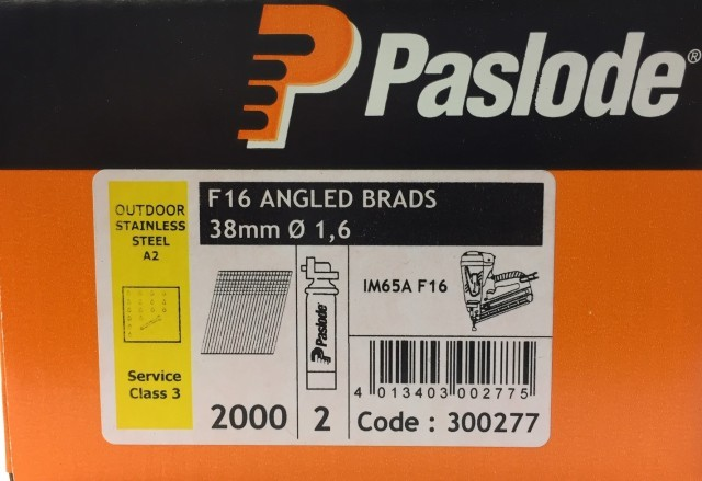 Paslode Stainless Steel 38mm x 1.6mm Brad Angled