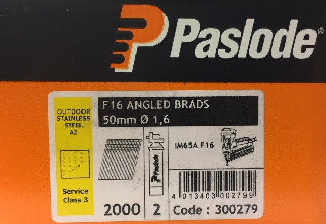 Paslode Stainless Steel 50mm x 1.6mm Brad Angled