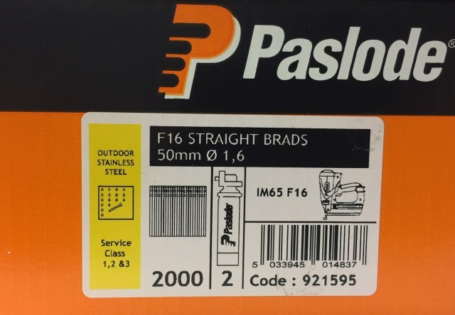 Paslode Stainless Steel 50mm x 1.6mm Brad Straight