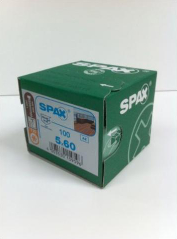 Spax Stainless 5.0 x 60mm x 100 box decking screw