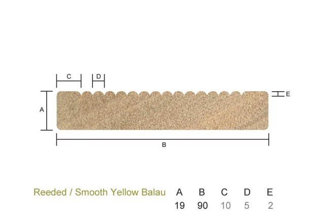 Yellow Balau 19 x 90mm Reeded/Smooth